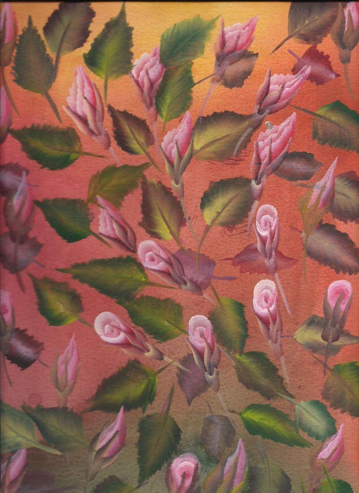 ''Rosas y hojas'' Tecnica:Dibujo en acuarela sobre papel acuarela