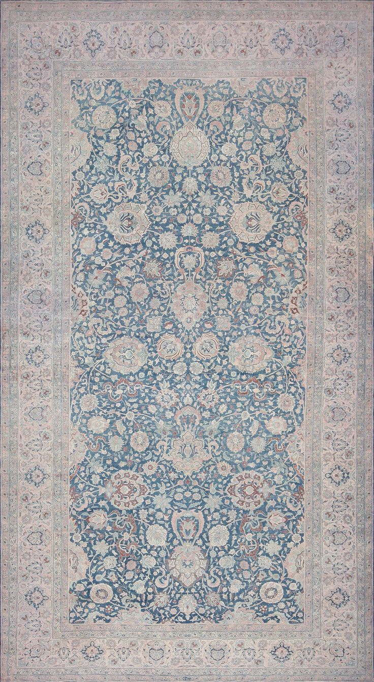 Large Scale All Over Design Light Blue Persian Kerman Carpet 44142