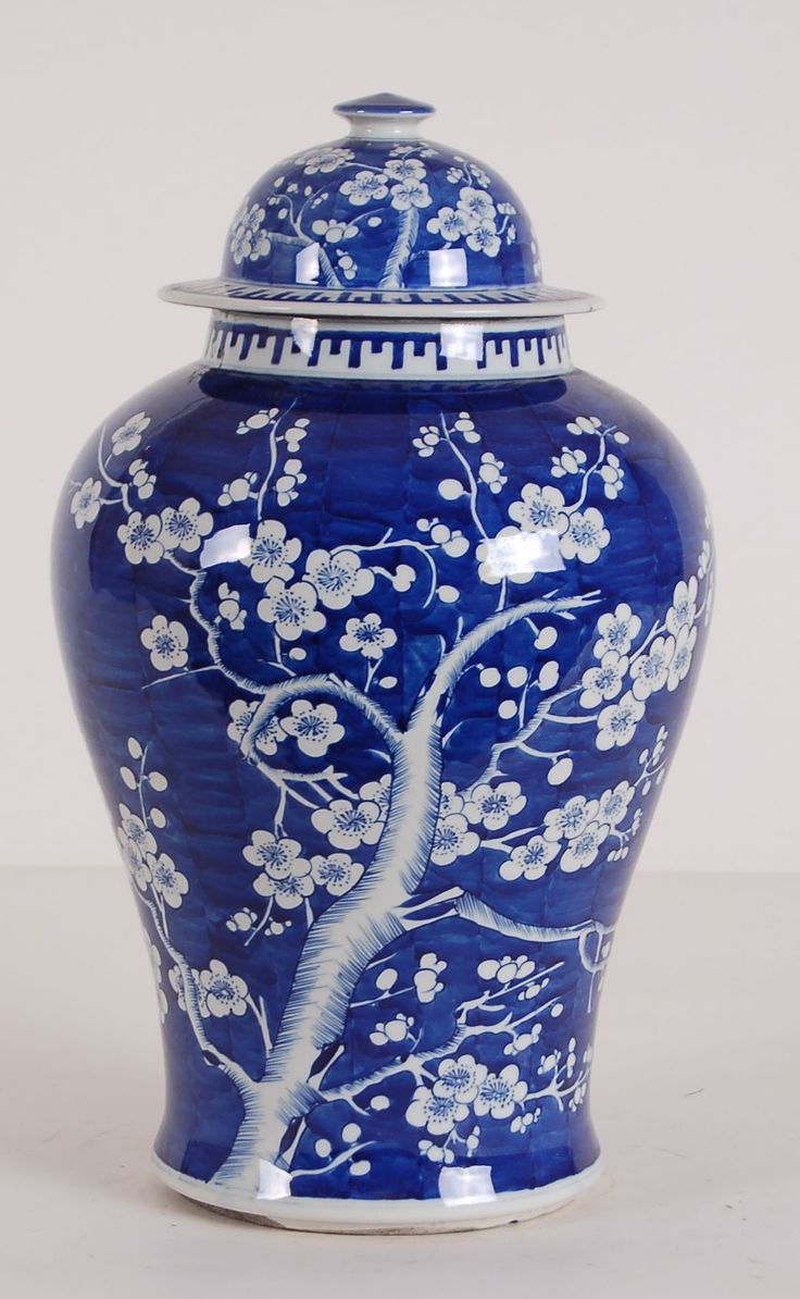 Blue and White Floral Pattern Jar from The Well Appointed House