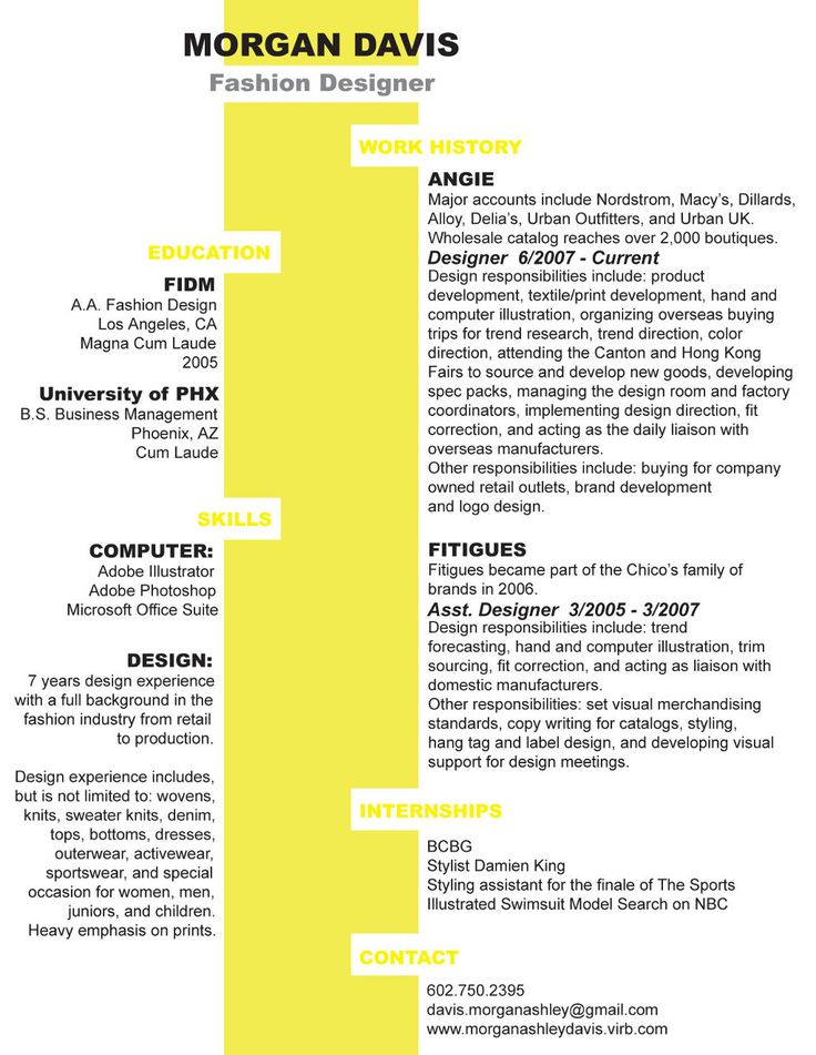 clever and unusual two column resume design