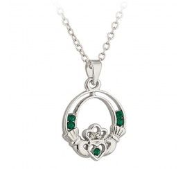 Claddagh Pendant, with Green Crystals, Rhodium Plated