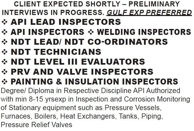Daily Jobs In Indeed Hired Ndt Api Painting Coating Inspector Required Contracting Company Job Opening Welding Inspector