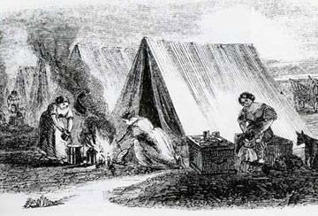 Métis camp, women cooking, Harper's Bazaar (1859). On buffalo hunts and trade expeditions, the Métis camped in tipis similar to the Plains tipis. The Métis also had canvas tents that were brought over by the Europeans.