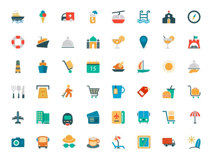 Travel Colored Vector Icons