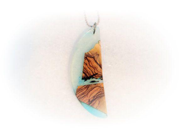 Crescent Handmade Pendant Greek Island Light Blue by MavouShop