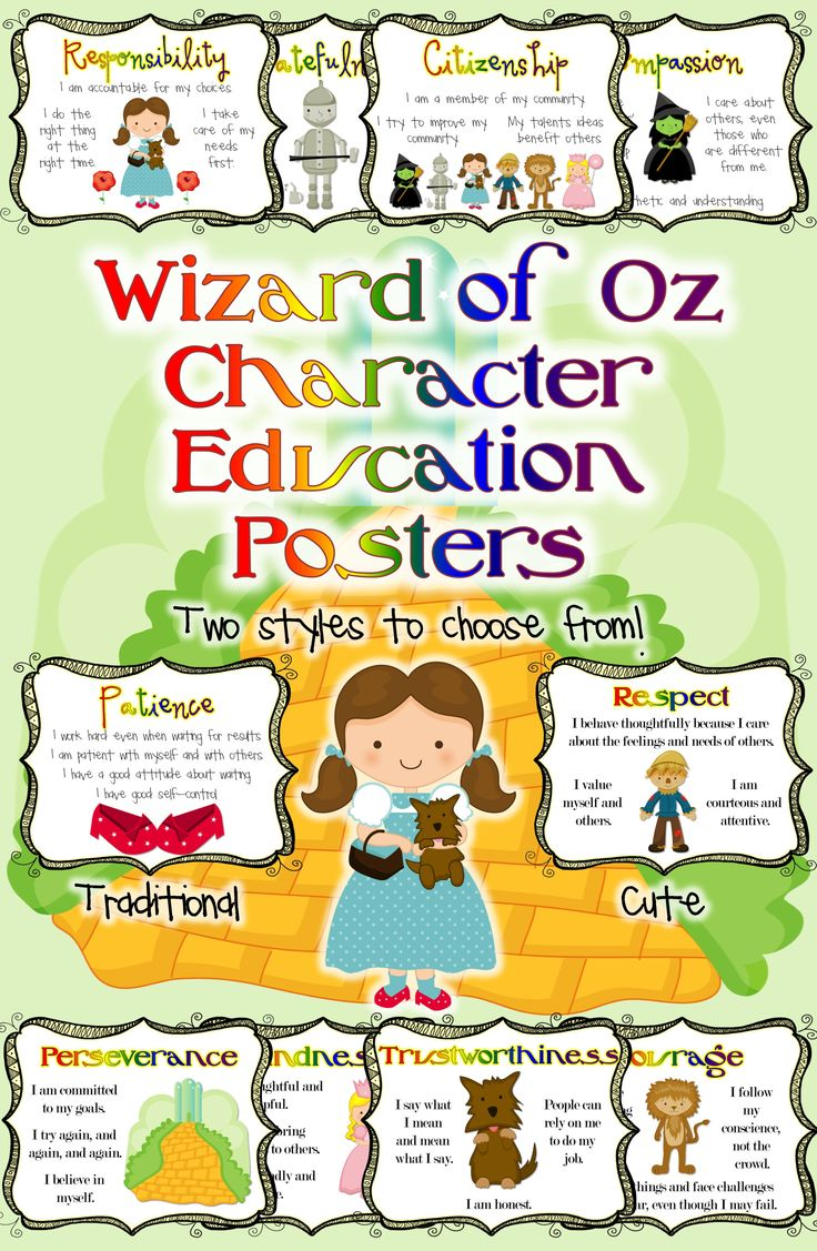 Wizard of Oz Classroom: Character Education Posters. Character traits: responsibility, kindness, courage, patience, compassion, perseverance, trustworthiness, citizenship, respect, gratefulness.