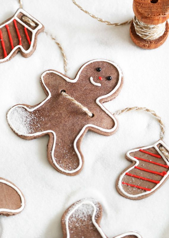 Gingerbread Folk Ornaments by Heather Baird via blog.etsy: Use ordinary pantry staples to create something beautiful and useful with very little effort. Perfect for gingerbread outs, these will perfume your tree with very little effort. #DIY #Christmas_Ornaments #Salt_Dough #Gingerbread