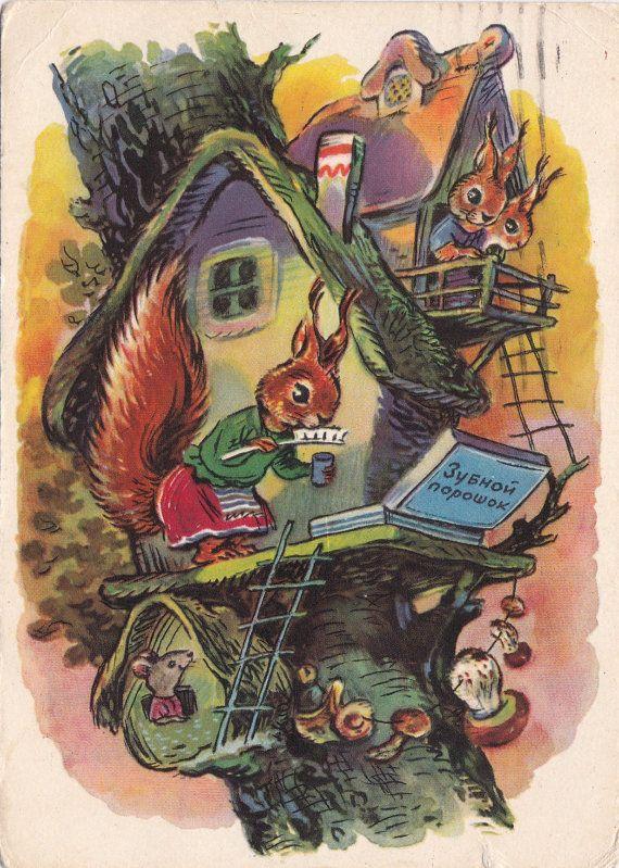 Signed. Postcard Illustration by Zotov for Konchalovsky poetries - 1960, Izogiz. Condition 1/10