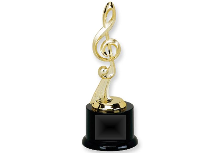 G Clef TROPHY  - 8.5 inches tall. Engravable plaque.
