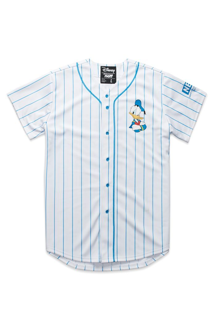 PacSun presents the NeffDonald Baseball Jersey for men. This piece of the Disney Collection is a pinstriped men's baseball jersey with a Neff logo on the sleeve.Two tone baseball jersey with Neff graphicsButton frontShort sleevesRegular fitMachine washable100% polyesterImported