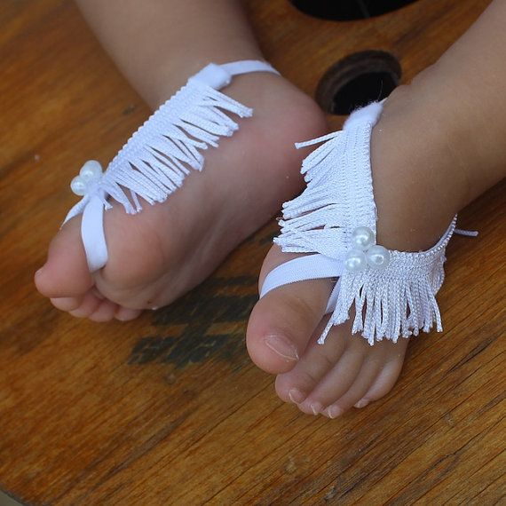 White Sandals White Barefoot Sandals Barefoot Baby by AllBabyGirls