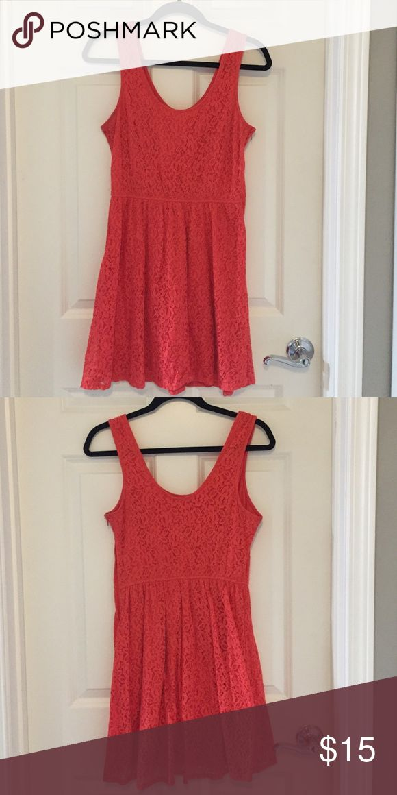 Mossimo coral lace dress Tank style coral lace dress. Fully lined, side zipper. Mossimo Supply Co. Dresses