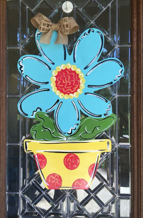 Flower Pot Door Hanger Spring Door Hanger Summer By