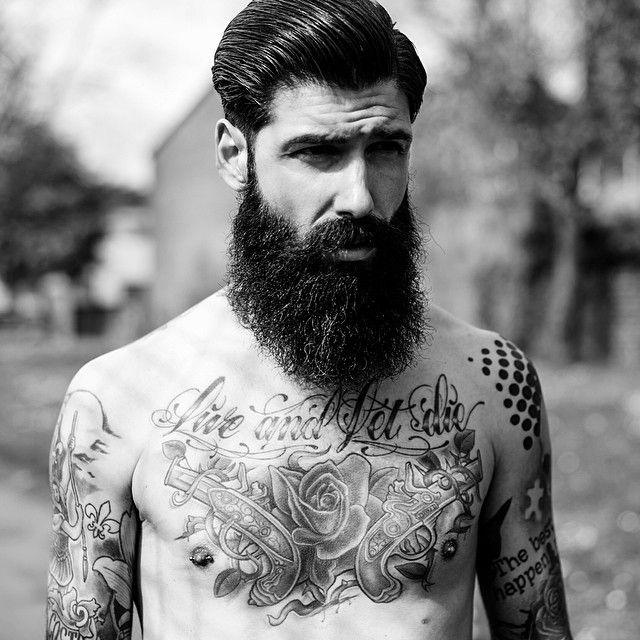 very full thick bushy black beard and mustache beards bearded man men bearding tattoos tattooed #beardsforever
