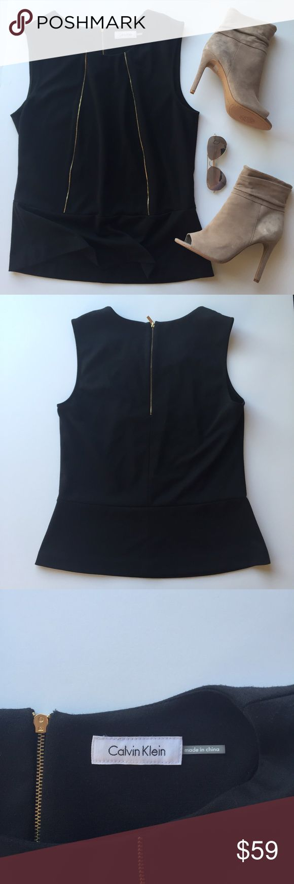 🎉HP🎉 - CALVIN KLEIN - Zipper Front Peplum Tank This peplum tank has an understated sexy edge with zipper detail in front and zip up back. Wear with trousers for the office, jeans for a brunch date, or spice it up with leather leggings & nude heels for a night out!                                   🔸Bundle & Save 15% on 2+ items!                         🔸Free gift on purchases over $100!                    🙅🏼No trades / selling off of Posh.                         🌟Offers always…