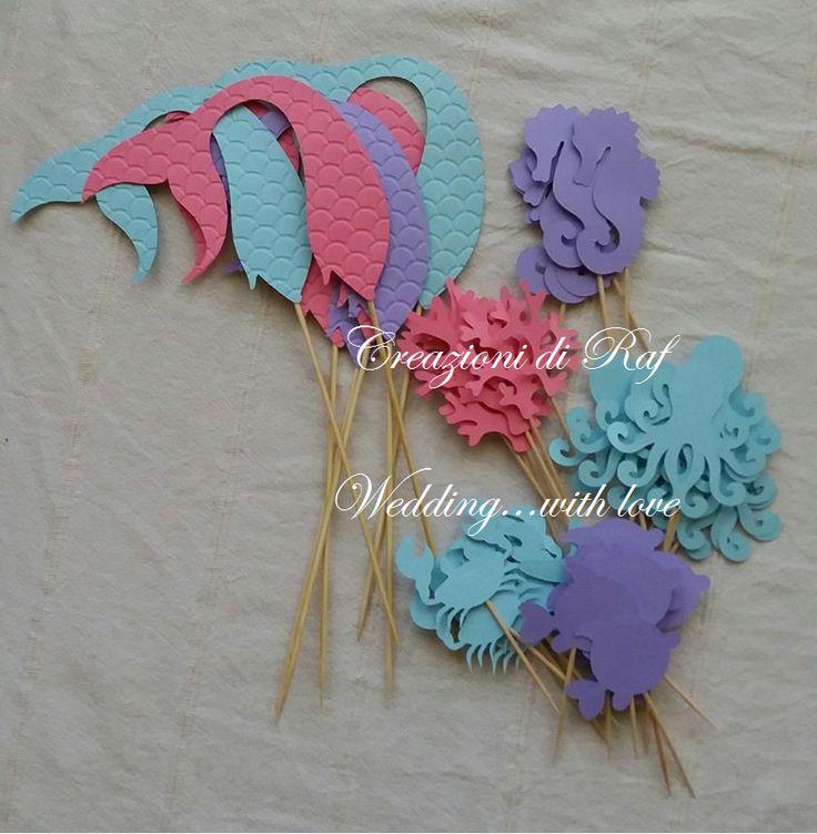Set per festa di compleanno a tema Sirenetta  Topper per stuzzichini a forma di code di sirena, coralli, granchietti, polipetti, cavallucci marini e pesciolini