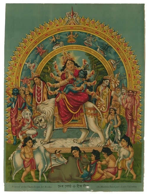 Very rare picture of Durga with baby Krishna