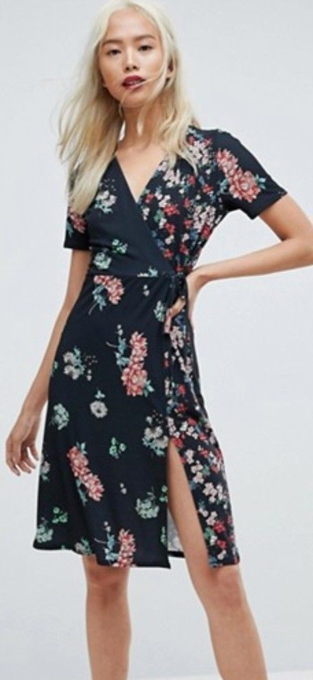 baef7de6806c1 28.00 | ASOS Women's Midi Wrap Dress In Mixed Floral Print Black, Size US