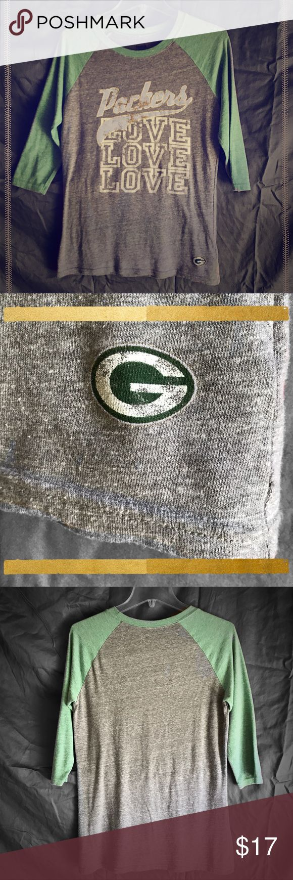 Green Bay Packers 3/4 Sleeve Tee Extremely soft and comfortable way to show how much you love the Packers- at home, at a bar, at a game, at a party, or wherever!  It's made by Reebok, Size L, mint/gray colors, 3/4 Sleeve.  Previous gentle use, but in good condition.  Perfect for an Lady Packer Fan 🏉 Reebok Tops
