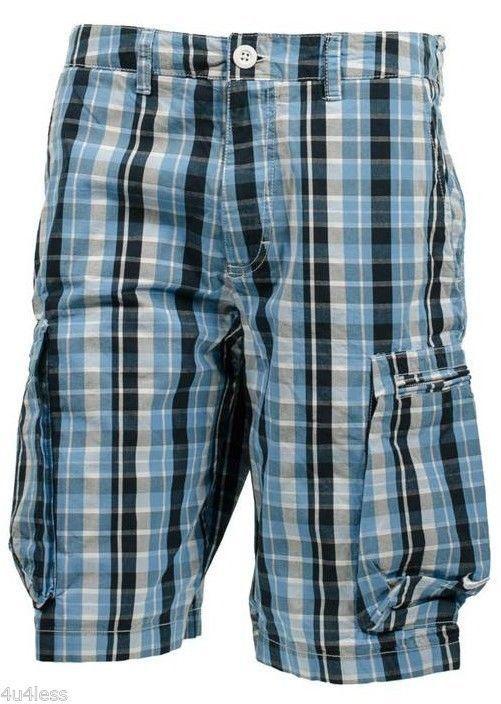 Men's Nike Challenge Plaid Woven Cargo Shorts Size 36 Blue 546120 100 NWT  #Nike #Cargo