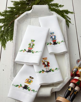 "Four ""Nutcracker"" Holiday Guest Towels at Horchow."
