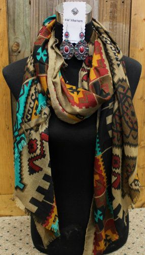 Turquoise & Brown Aztec Scarf