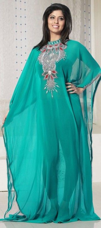 325149, Kaftan, Faux Georgette, Moti, Stone, Patch, Lace, Sequence, Green Color…
