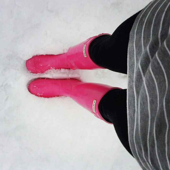 My pink Hunter boots. <3 I'm in love