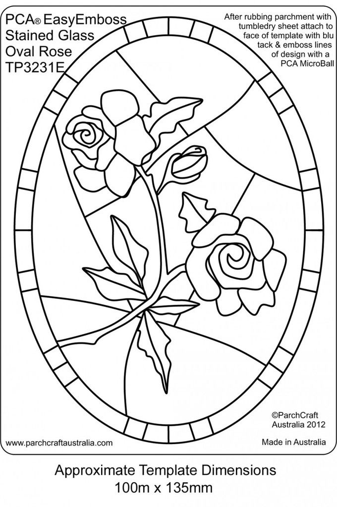 PCA EASY EMBOSSING TEMPLATE - STAINED GLASS OVAL ROSE    This template depicts beautiful ROSES in an OVAL SHAPED frame. The Stained Glass style templates are ideal for projects such as birthdays, thank you, invitation, get well, sympathy etc. Emboss using the PCA® MICRO BALL E3012 Tool. Important to get the sharp crisp image that looks so professional! A clear sharp embossing result is easily achieved with excellent depth. Very quick and easy to use. Place vellum on top of template.