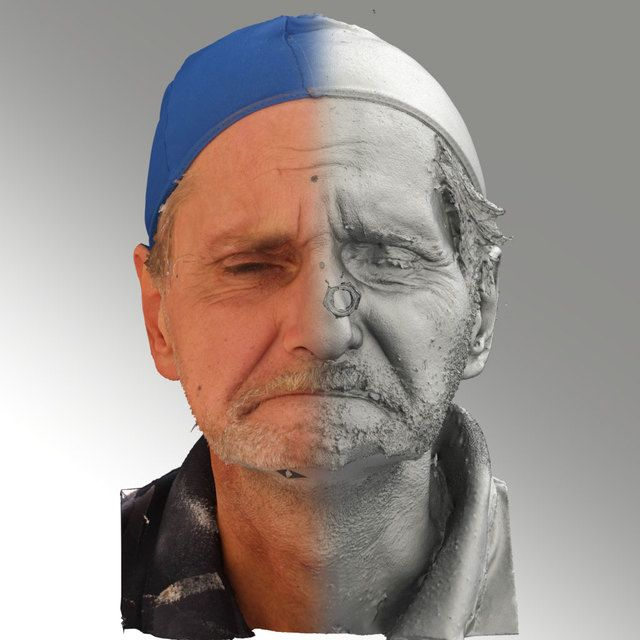 3D Head Scan Of Angry Emotion   Richard