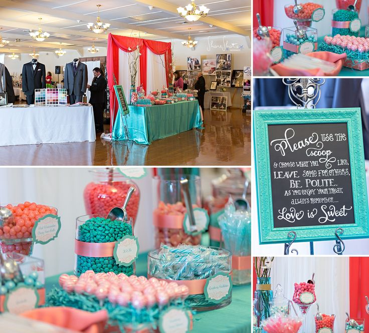 Candy Sweet Buffet In Turquoise And Salmon Colours For Guests