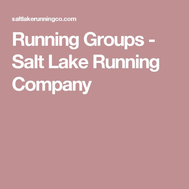 Running Groups - Salt Lake Running Company