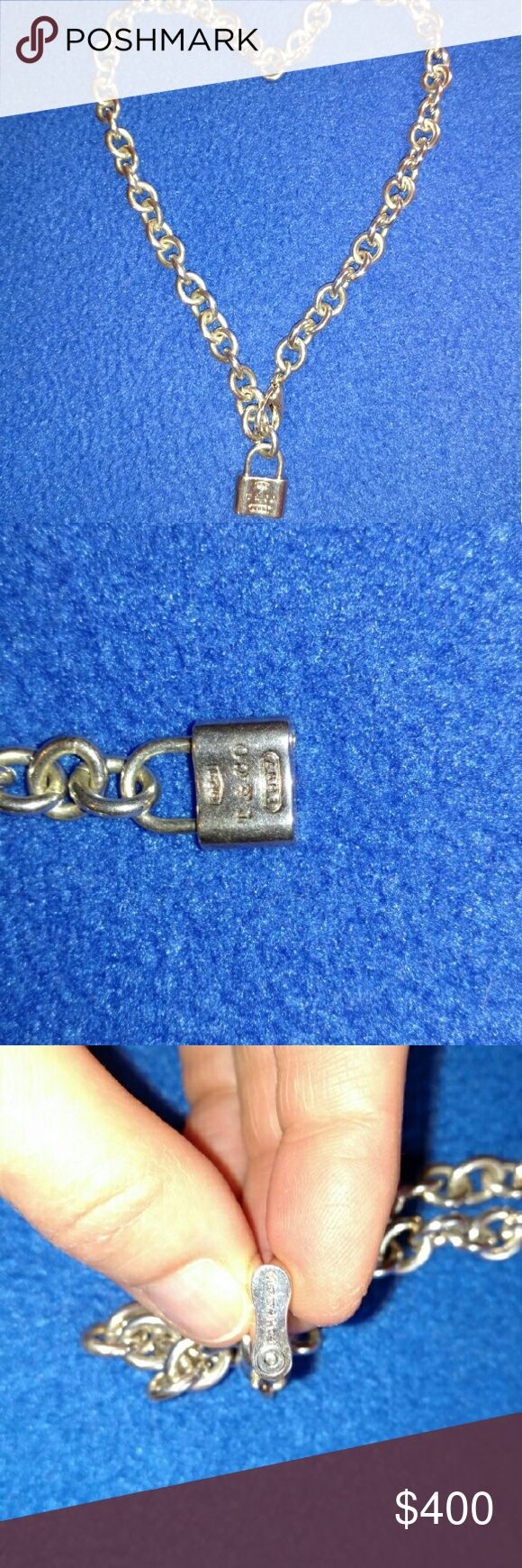 """Tiffany & Co. Chain Link padlock necklace 16"""" Like new-worn once. EUC Tiffany & Co. Jewelry Necklaces"""