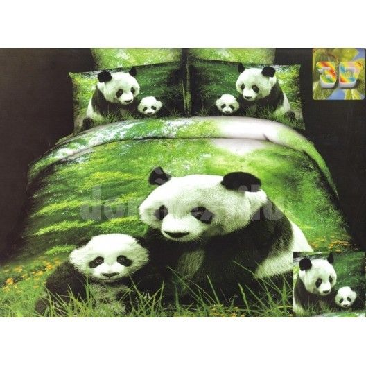 Zelené posteľné návliečky zelenej farby s pandami
