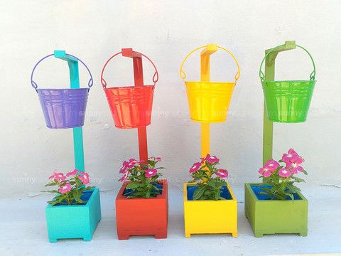 Upcycled Wood planter box stand (XS) with hanging bucket planter
