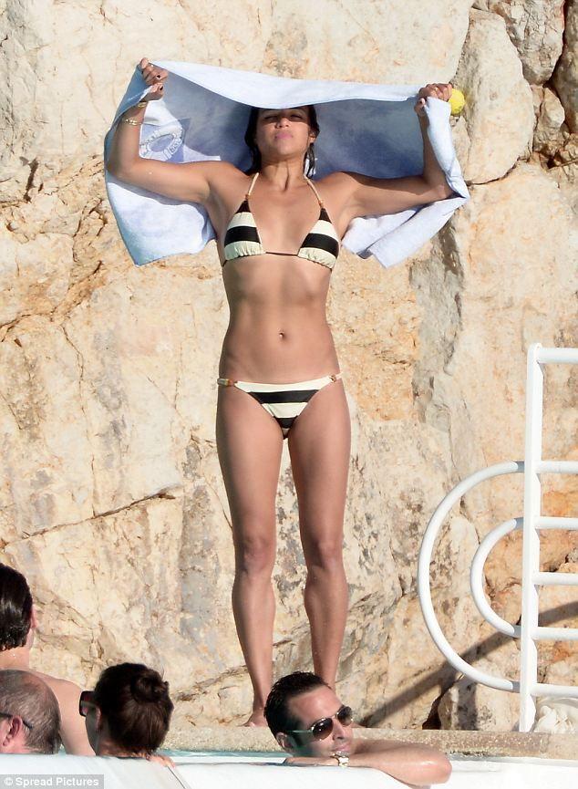 #Michelle #Rodriguez #sailor #striped #bikini #Cannes