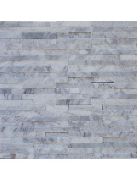 random strip italian white carrara marble brick pattern splitface mosaic tile - White Carrara Marble