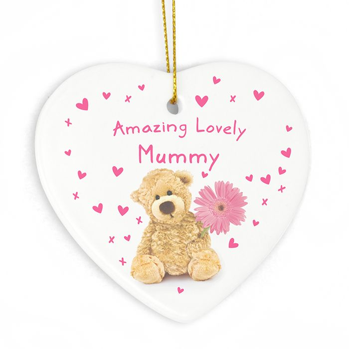 This personalised Teddy Flower Heart is decorated with a cute teddy and pink flower design making it the perfect gift for Mum on Mothers Day.