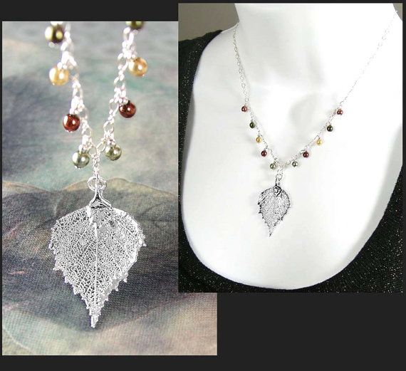 Silver Leaf Necklace Sterling Silver Chain by DorotaJewelry