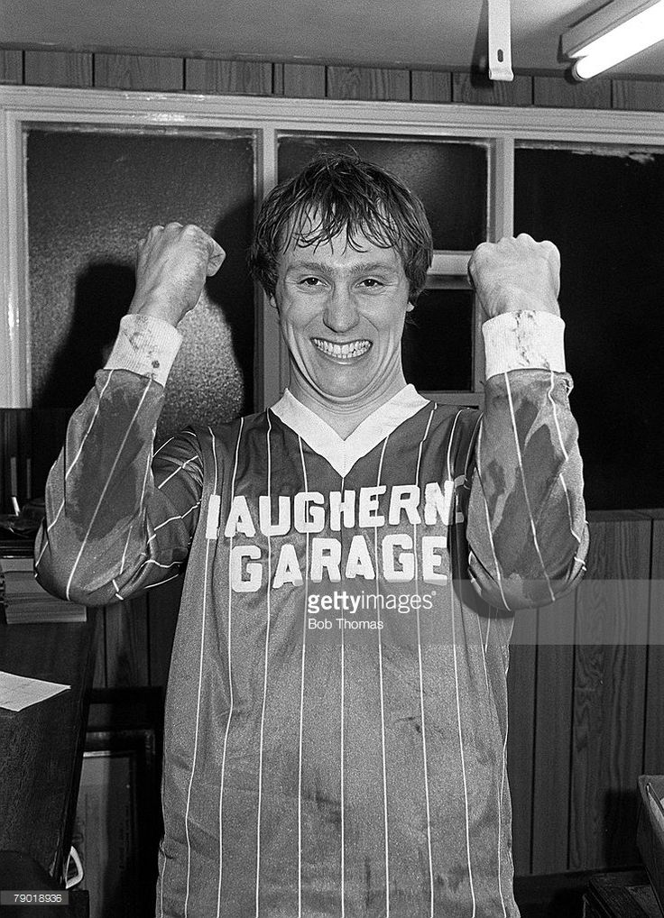 Football, FA Cup Round 2, 11th December 1982, Worcester City 2 v Wrexham 1, Worcester's two goal hero Paul Moss celebrates after the match