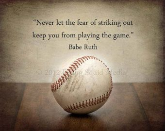 "Baseball Decor - 10x8 Print - ""Never let the fear of striking out...""  -  Baseball Art - Boys Bedroom Art"