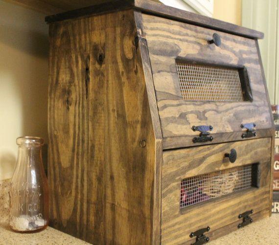 Rustic Bread Box wooden Vegetable Bin Storage Primitive Cupboard Onion Potatoes Country Kitchen Countertop by Dlightfuldesigns