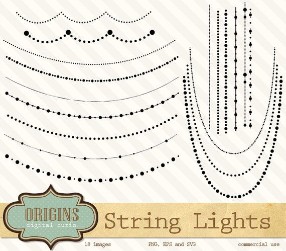 String Lights Svg : String Lights Clipart - PNG and Vector Clipart Set, black ornaments clip art, party clipart ...
