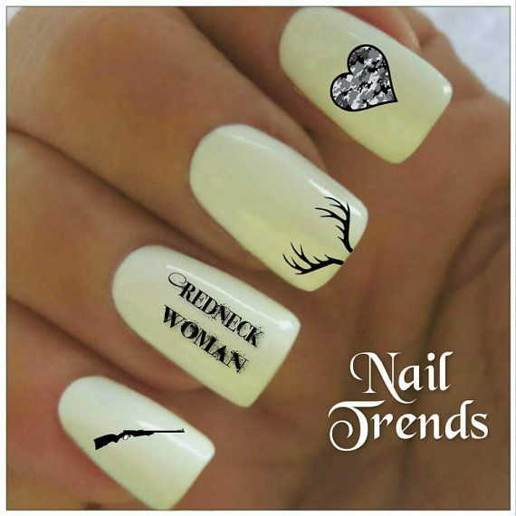 Country Nail Decal. 20 Redneck Woman Vinyl Stickers Nail Art    These are not a Water Slide Decal. They are a vinyl sticker decal.    You will receive