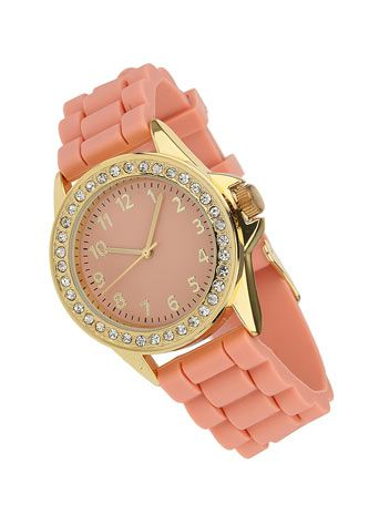 Coral Strap Stone Watch