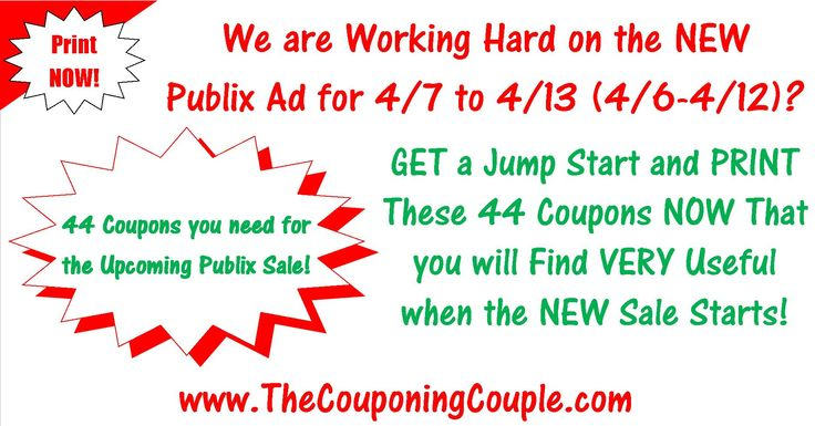 Question? Who wants to get the NEW Publix Ad With Coupon Matchups for 4-7 to 4-13-16 (3/6-4/12) Tomorrow? While you wait Click the Picture Below and get a Jump Start on Printing these coupons that you will NEED when the new sale starts! Don't take a chance on not being able to PRINT THEM and get them NOW! http://www.thecouponingcouple.com/44-coupons-to-print-for-upcoming-publix-sale-starting-on-4-7-16/  Leave a comment below and let me know if you WANT it Tomorrow and if