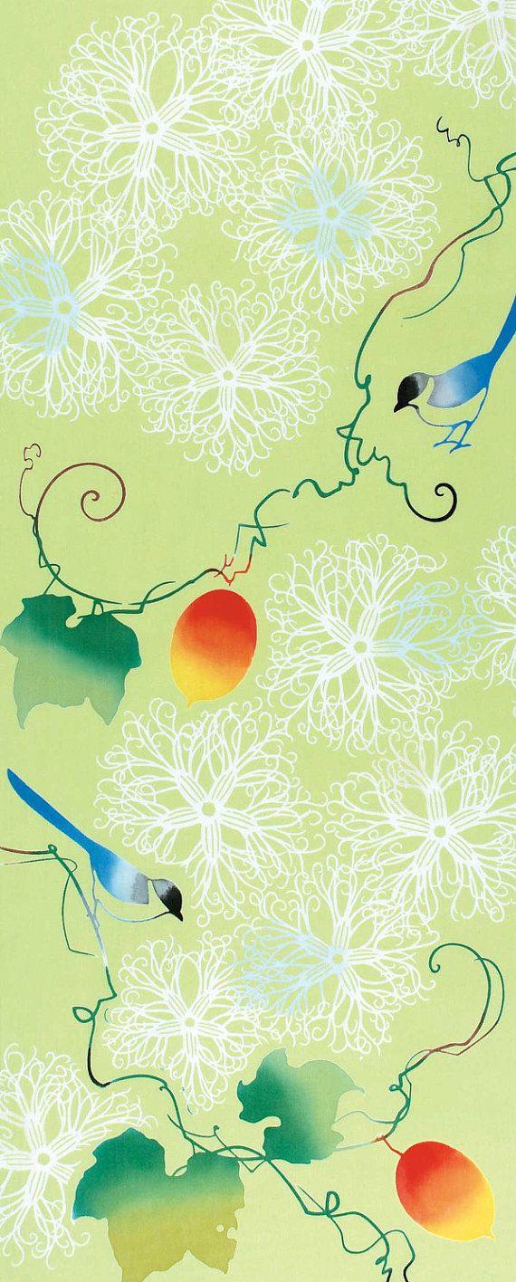 Japanese Tenugui Towel Cotton Fabric, Snake Gourd, Bird Design , Hand Dyed Fabric, Green Modern Art Fabric, Wrapping, Home Decor, JapanLovelyCrafts