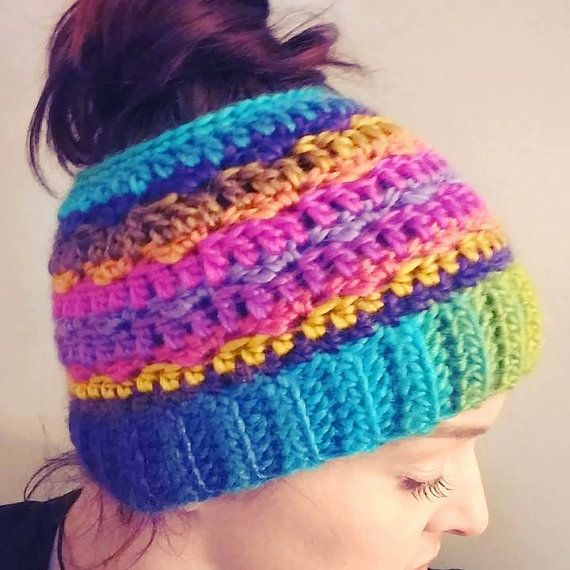 The Crochet Messy Bun Beanie is perfect if you have long hair but want ...