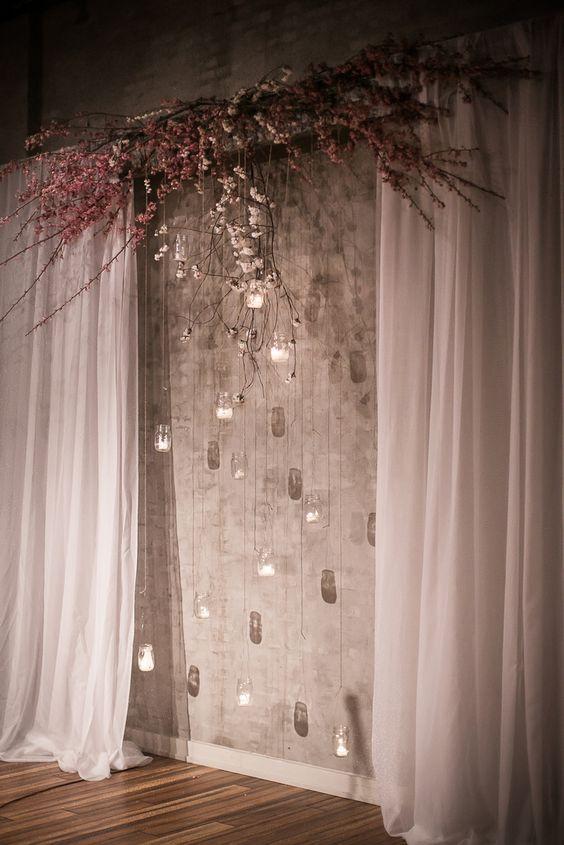 Indoor wedding ceremony backdrop idea via Femina Photo and Design - Deer Pearl Flowers / http://www.deerpearlflowers.com/wedding-ceremony-decor/indoor-wedding-ceremony-backdrop-idea-via-femina-photo-and-design/