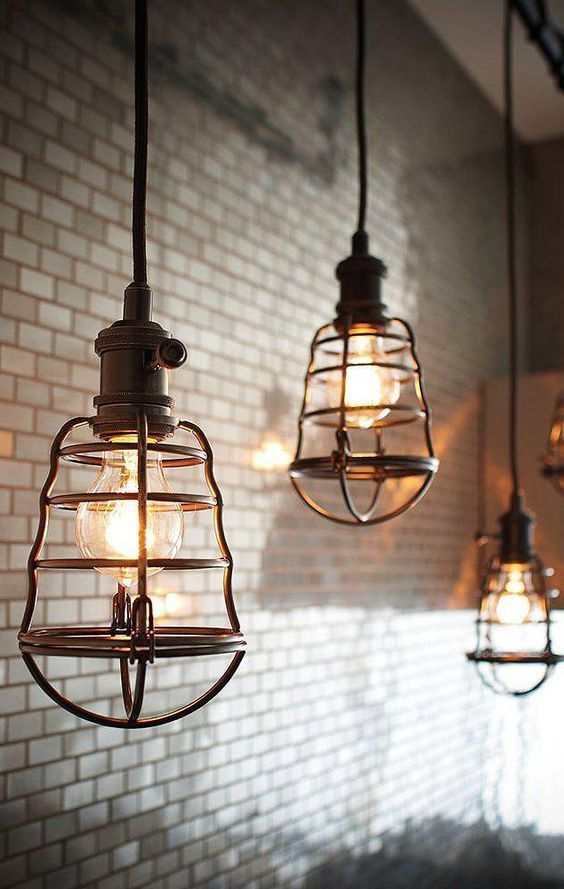 Industrial Pendant Lighting | Caged Pendant Light Fixtures | Subway Tile Backsplash | Home Decor | Design | Kitchen | Loft | Condo | Apartment | Small Space Living | Vintage | Retro | Antique | Minimalism | Minimalist | Midcentury | Furniture | Ideas & Inspiration | Restaurant | Bar | Edison Lights